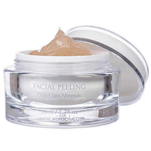Vivo Per Lei Facial Peeling Gel   Contains Dead Sea Minerals and Nut Shell Powder   Gentle Face Exfoliator Scrub and Blackhead Remover   Peel Your Skin to a Fresher You   1.7 Fl. Oz.