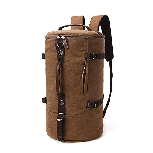Young shinee Trekking-Daypack, Vintage Männer/Frauen zylinderförmigen Rucksack Daypack Wasserdichte Reißverschluss Leinwand Wandern Outdoor Handtasche (Farbe : Coffee Color)