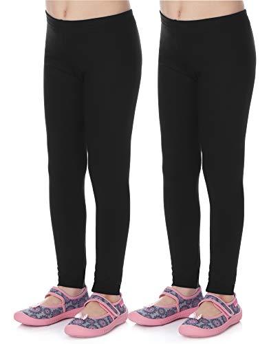 Merry Style Mädchen Lange Leggings aus Viskose 2 Pack MS10-130 (Schwarz/Schwarz (2Pack), 128 cm)