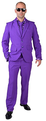 M218287-10-L lila Herren Anzug Smoking Sakko Hose und Krawatte Gr.L
