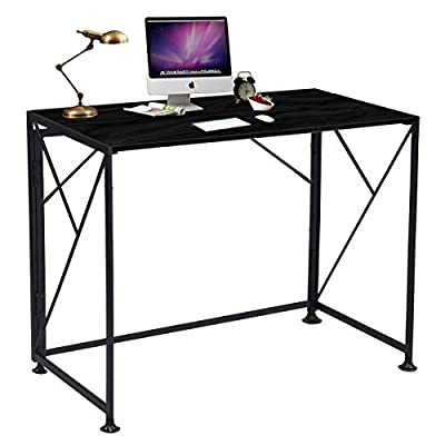 ComHoma Writing Computer Desk Office Folding Table Modern Simple Work Study Desk Industrial Style PC Laptop Table for Home Office, No Assembly Required