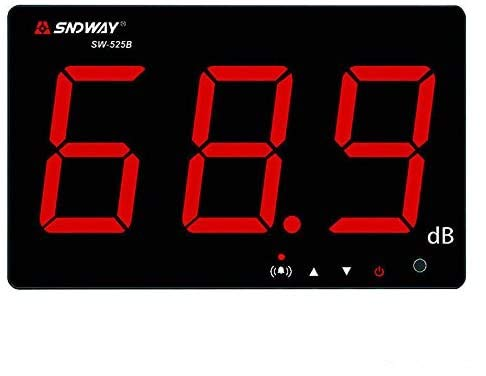 TestHelper SW-525B Sound Level Meter Tester 30-130db,9.6in Screen LCD Display Wall Hanging Type Decibel Noise Measuring with Alarm (Sound Level Meter with Data Logger)