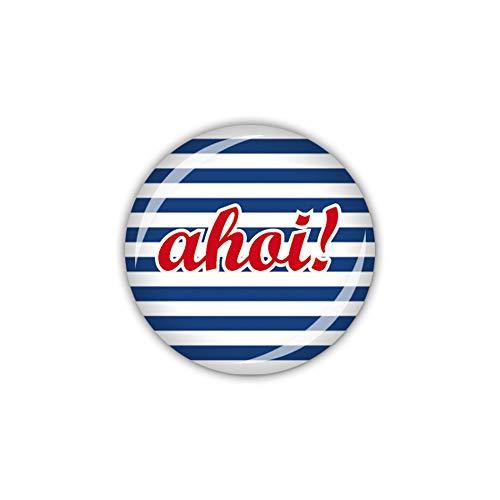 Preisvergleich Produktbild lijelove® Button 25mm Ø Naval AHOI! blau gestreift (Art. 04-00Z2)