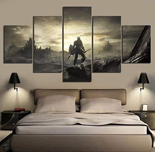 VENDISART,Leinwanddrucke,Modulare Wandkunst Wandaufkleber,5 Teiliges Wandbild,Dark Souls 3-Spielszene,Mit Rahmen,Größe:M/B=150Cm,H=80Cm
