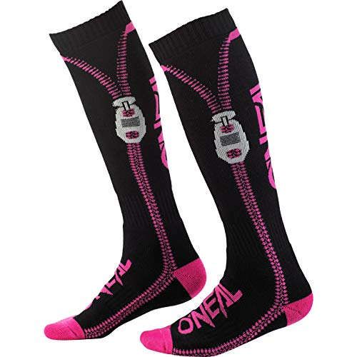 O'NEAL | Mountainbike Motocross Socken | MTB Downhill Freeride | Schweißabsorbierend, Verstärkter Fersen & Sohlenbereich | Pro MX Zipper | Unisex | Erwachsene | Pink Schwarz | One Size
