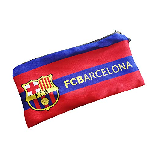 Football Club Soccer Team Logo Pencil Cases with Zipper Pencil Holder Portable Pencils Pens Bag Pouch for School & Office (FC Barcelona)