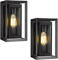 KAUEN Outdoor Wall Lights,11.6-Inch Exterior Wall Sconce in Textured Black Finish with Clear Glass - 2422-1W-2PK