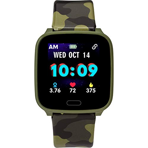 iConnect by Timex Kids Active Smartwatch with Heart Rate, Notifications & Activity Tracking 37mm – Green with Green Camo Resin Strap