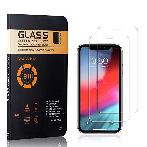 Bear Village® Displayschutzfolie für iPhone XR, 9H Härtegrad Displayschutz, Keine Luftblasen, 3D Touch Schutzfilm aus Gehärtetem Glas für iPhone XR, 2 Stück