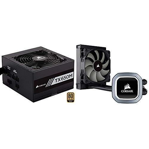 Corsair TX650M Alimentatore PC, Semi Modulare, 80 Plus Gold, 650 W, EU & Hydro H60 2018 All-in-One Liquid CPU Cooler Sistema di Raffreddamento a Liquido per CPU