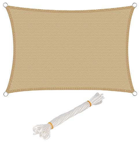 WOLTU® Sonnensegel Rechteck Sonnenschutz Garten Schattenspender Windschutz wasserabweisend mit UV Schutz HDPE rechteckig Sand 2x3m
