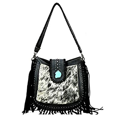 Leather Hobo Western Shoulder Handbag Coin Purse Bundle (Black Whipstich, Concho)