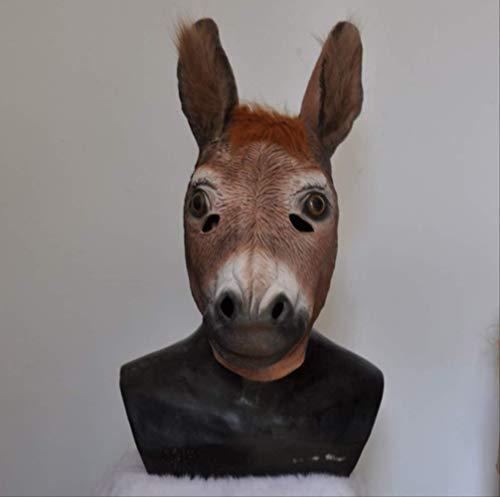 tytlmask grappige ezel latex masker, realistische dier volledige hoofd masker, voor Fancy carnaval kostuum props, past de meeste volwassen hoofden