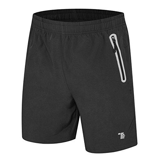 donhobo Kurze Hosen Herren Shorts Sport Trainingsshorts Fitness Short Sporthose mit Taschen Reißverschluss(01Dunkelgrau,M)