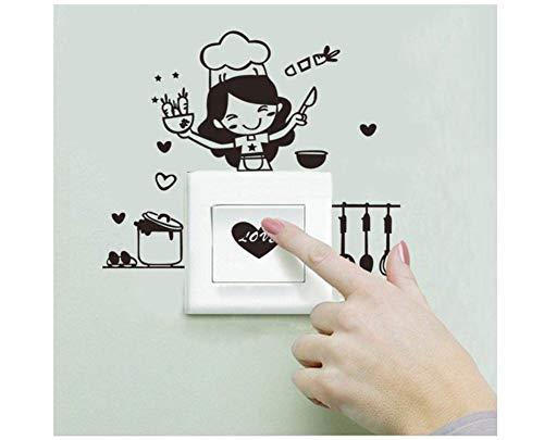 Hacoly Lichtschalter Wandaufkleber Kleines Mädchen der Küche Wandschalter Wandsticker Möbel Küche Toilette Steckdose selbstklebend Aufkleber Wandtattoo Esszimmer Wanddeko Ideal