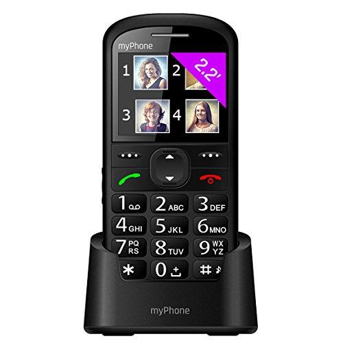 myPhone Halo 2 Mobiltelefon Senioren-Handy mit Ladestation ohne Vertrag 2.2 Zoll großes Display Großtastenhandy, Farbdisplay, Notruftaste, Taschenlampe, Bluetooth, großer Akku 900mAh, Kamera - Schwarz