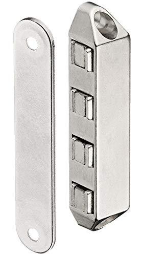 Gedotec H10532 Magneetsluiting, magneetsluiting voor balkondeuren en kasten, hechtkracht 8 kg, verchroomd staal, 1 stuk, deurmagneet extra sterk