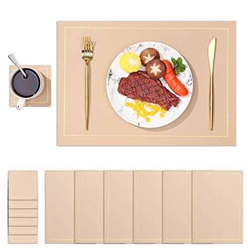 DYJKOUG Faux Leather Placemats and Coasters Set of 6 Rectangle Placemats Table Mats, Waterproof Oilproof Heat Resistant Non Slip Washable Coffee Mats for Kitchen Dinning Table(Black)