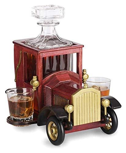 NIANXINN Conjunto de decantores de Whisky, con Gafas de Cristal y Soporte Antiguo de Coche Vintage, Accesorios de Barras para Bourbon, Scotch, Decantador de vinos Decantador de Whisky