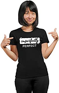 PrintBharat for Women Imperfectly Perfect Design Printed 100% Cotton Half Sleeve Tshirts