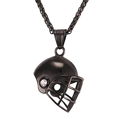 AMOZ Colgante de Sombrero de Fútbol de Acero Deanio a la Moda para Hombre, Collar de Acero Inoxidable, Joyería/Negro