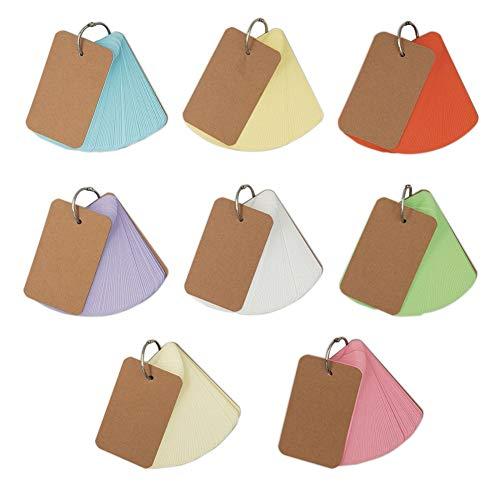 Vokabelkarten,Multifarbige Mini Karteikarten Lernkarten Notizblöcke Lernkarte Pocket,Papierkarten Mit Ring Memo Farben für Vokabeln (8 Farben Insgesamt 400 Blatt)