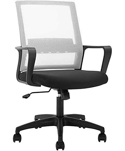 Mesh Computer Chair Office Task Chair Swivel Rolling Chairs Ergonomic Desk Chair with Wheels, Modern Height Adjustable Chairs with Lumbar Support, White