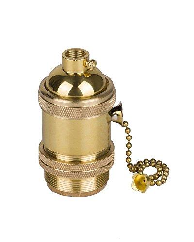 HJXDtech E27 oro base della lampadina del supporto dello zoccolo della lampada con l'interruttore di canale Retro Antico Edison luce ciondolo In ottone massiccio Luce Socket con Staffa per Lampade