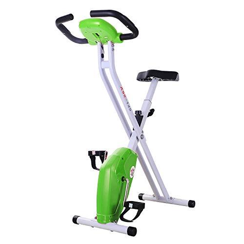 homcom Cyclette Pieghevole per Dimagrire con Schermo LCD, Intensità e Sellino Regolabile, Verde, 83x43x110cm
