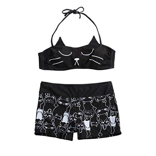 TWIFER Mädchen Strappy Kitty Katze Bikini Oberteile Badeanzug Badehose Set