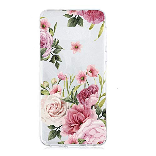 Amocase Cute Floral Case with 2 in 1 Stylus for Samsung Galaxy S10,Stylish Ultra Thin Sweet Flowers Soft Rubber Silicone TPU Shockproof Anti-Scratch Flexible Clear Case - Pink Rose