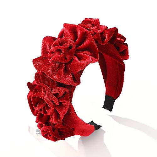 U/D Sygjal Nueva Bisel Accesorios for el Cabello Velvet Rose Flor de Scrunchie Europa Venda Principal Hairband del Color sólido de la Moda (Color : Rojo, Size : Gratis)