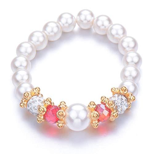 Pulseras Brazalete Joyería Mujer Bead Pearl Bracelets Bangles Pulsera De Cuentas Crystal Beads Jewelry Gift-Titanium_Plated