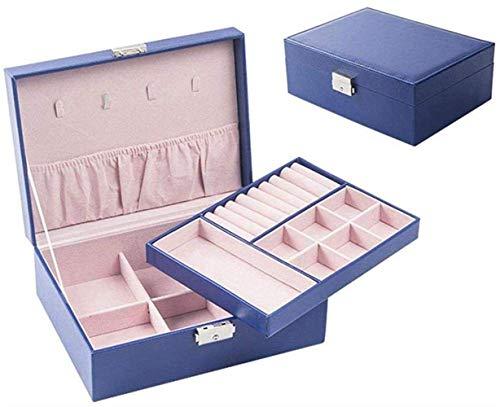 Caja simple Caja de almacenamiento Doble de gran capacidad Simple Adecuado para aretes Collar Anillo, Azul