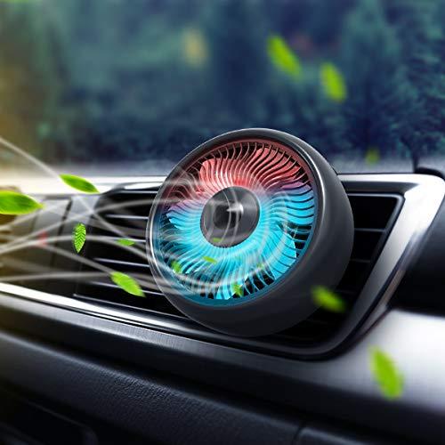 Ventilador de auto, ventilador de ventilación de aire del automóvil Ventiladores USB Ventilador de enfriamiento automático de 3 velocidades Quiet Potente y potente ventilador de ventosa con luz colori