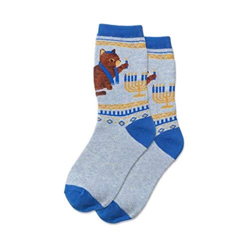 Hotsox Kid's Hanukkah Cat Socks 1 Pair, Blue Heather, Medium/Large