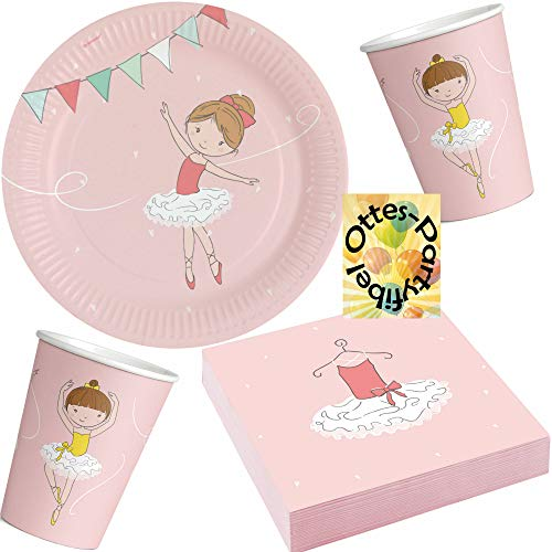 HHO Ballerina-Party-Set Little Dancer Partyset 52tlg. für 16 Gäste 16 Teller 16 Becher 20 Servietten