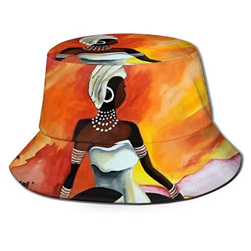 GAHAHA Fischerhüte für Herren, afrikanische Frau, Fischermütze, tragbar, Sonnenschutz, UV-Schutz, Unisex, faltbar, Sommerhut