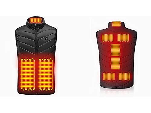 Gilet Riscaldato per Uomo Donna, Giubbotto Riscaldato con USB con Doppio Controllo per Collo ,3 Temperatura Regolabile Giacca Riscaldata Elettrica Lavabile , 9 zone di riscaldamento (Nero, XXL)