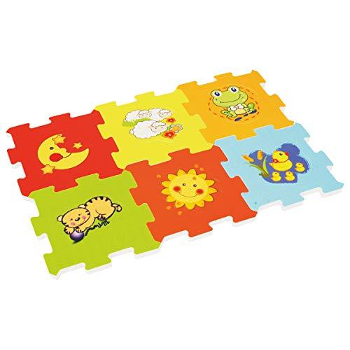 Bieco Puzzlematte, 12 tlg. | Spielmatte Baby | XXL Puzzle Kinder | Krabbeldecke Baby Spielmatte Kinder| Turnmatte Kinder | Kinder Teppiche | Krabbelmatte Baby | Buchstaben Lernen | Spielteppich Junge