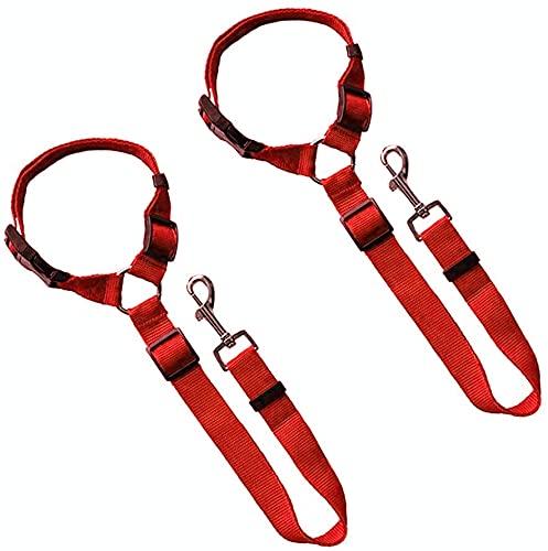 Cinturón de Seguridad para Perros, 2 Paquetes Cinturón de Seguridad para Mascotas Cuerda de Seguridad para Perros Cinturones de arnés Ajustables (Rojo)