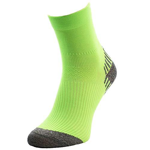 Comodo - Calcetines deportivos para hombre y mujer, antideslizantes, 1 par de calcetines de running con talón y dedos reforzados, todo el año, Unisex, color RUN6 / Neon / verde., tamaño 35 - 38