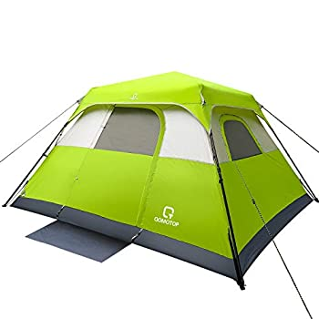 OT QOMOTOP Tents 6 Person 60 Sec Set Up Camping Tent Waterproof Family Tent with Top Rainfly Instant Cabin Tent Advanced Venting Design Green