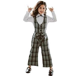 BEUWAYS サロペット 女の子 ワンピース セットアップ シャツ+ロングパンツ 2点セット チェック柄 キッズ服 子供 オーバーオール 長袖 ズボン ロングパンツ カジュアル 普段着 可愛い (グレー,150cm)