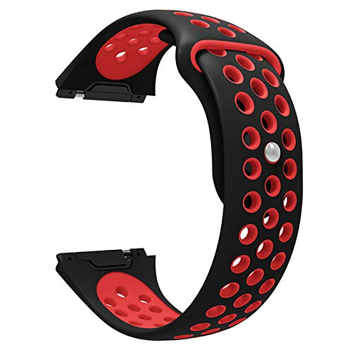 DyNamic KALOAD Silikon Smart Watch Band Sports Skin-Friendly Armband Strap Belt Breathable for Fitbit Ionic - Schwarz-Rot