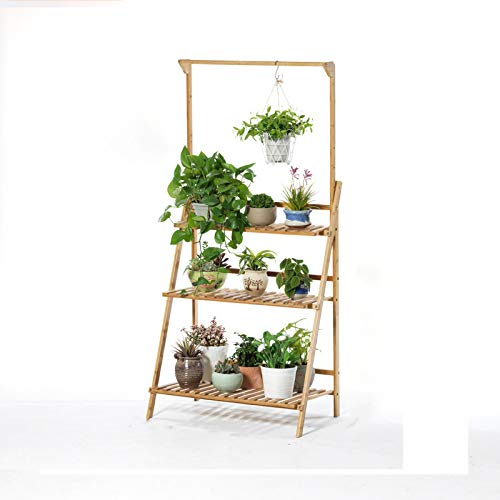 3-Tier Bamboo Hanging Plant Stand Planter Shelves Flower Pot Organizer,Storage Rack Display Shelving Plants for Patio Garden Balcony Indoor Outdoor (Wood Color)