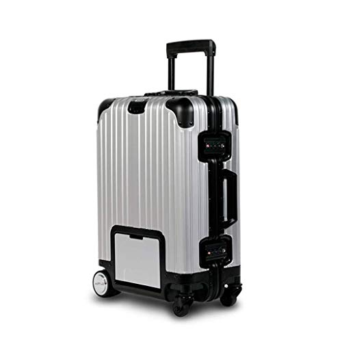 Lahshion Kabine Koffer, Smart Riding Scooter Koffer, mit versteckten dehnbaren Rod geeignet für Business Travel Erwachsene Teens,Black+Silver