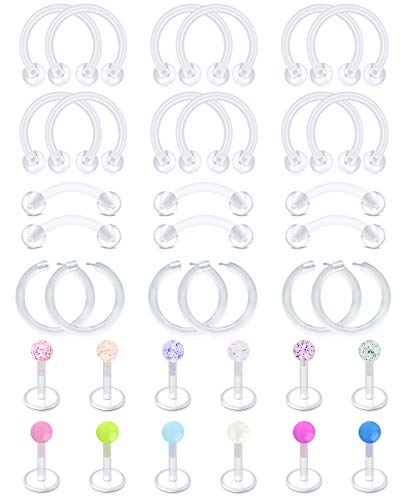 Briana Williams 36 Piezas Retenedores Piercing Transparentes 16G Barra de Labios Acrílica Bioflex Anillos de Cejas Cartílago de Herradura Tragus Piercing