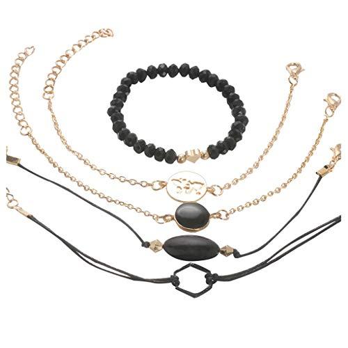 Pulsera de plata hecha a mano con cuentas de color negro, cadena de mano, accesorios para mujeres, pulseras de hija, hijo, regalo de cumpleaños (multicolor