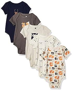 Hudson Baby Unisex Baby Cotton Bodysuits Forest 0-3 Months
